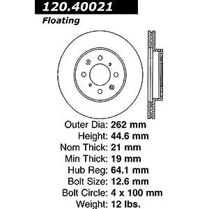 Centric Parts 121.40021 C-Tek Standard Brake Rotor