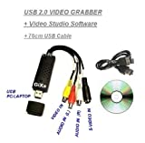 GiXa Technology Audio und Video Grabber USB 2.0 PC Computer Video Bearbeitung Videoadapter Nachbearbeitung Grabber Adapter VHS Digitalisierung Digital Capture Videoschnitt VHS-DVD mit Video Film Bearbeitung Software Video Schnitt !