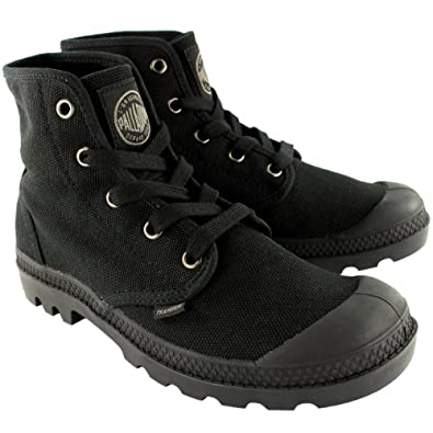 Mens Palladium Pampa Hi Lace Up Ankle High Gusset Canvas Sneakers Boots - 8 - Black