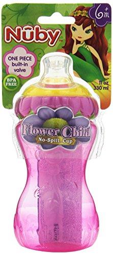 Nuby 3-D Flower No Spill Super Spout Gripper Cup, 11 Ounce