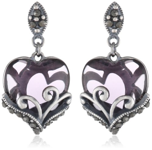 Sterling Silver Oxidized Marcasite and Gemstone Colored Glass Filigree Heart Drop Earrings