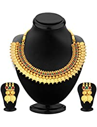 Penny Jewels Alloy Traditional Gold Plated Antique Fancy Golden Necklace Set For Women