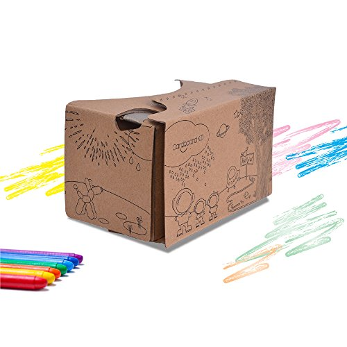 Google Cardboard V2 Kids Friendly Virtual Reality Headset - Encourages Creativity and Wonder Educational Family Fun VR Glasses 3D Viewer Compatible with iPhone and Android Smartphones up to 6 Inches