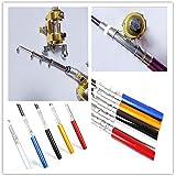 New Mini Aluminum Baitcasting Pocket Pen Fishing Rod Pole + Reel Tool SM