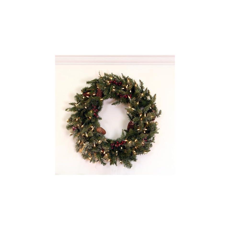 30 Pre Lit Frosted Edina Fir Artificial Christmas Wreath   Clear Lights
