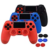ASIV Silicone Protective Skin Case Non-slip for PS4 Controller x 3 (Black + Red + Blue) + Thumb Grips Attachments x 6 (Color: 3pcs silicone case)