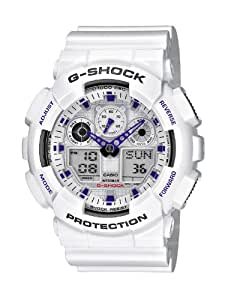 Casio - GA-100A-7AER - G-Shock - Montre Homme - Quartz Analogique - Digital - Cadran Blanc - Bracelet Résine Blanc