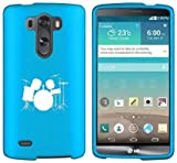 LG G4 Snap On 2 Piece Rubber Hard Case Cover Drum Set Light Blue