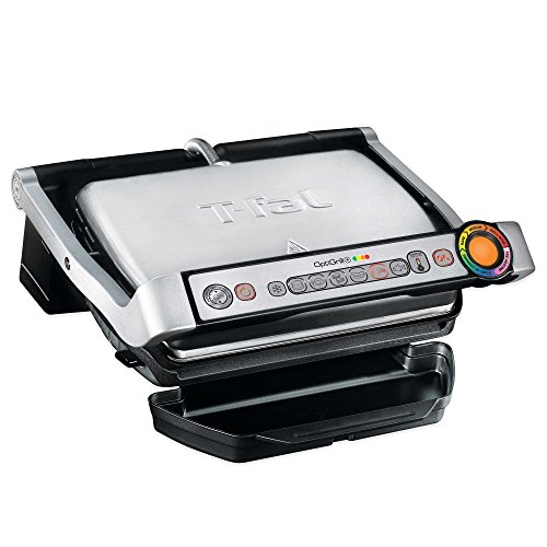 T-Fal OptiGrill Plus GC712D54 Stainless Steel Indoor Electric Grill with Removable and Dishwasher Safe plates,1800-watt, Silver (Sear Indoor Grill compare prices)