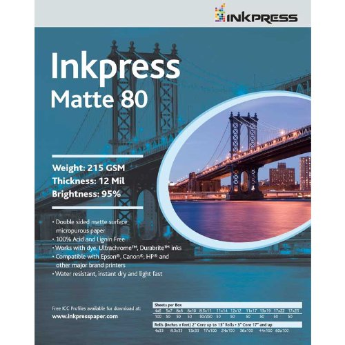Inkpress PP801117100 Commercial Duo Matte Inkjet Paper 80 New Stock 11in. X 17in. 100 Sheets