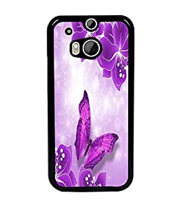 PrintDhaba Flowers and Butterfly D-1047 Back Case Cover for HTC ONE M8s (Multi-Coloured)