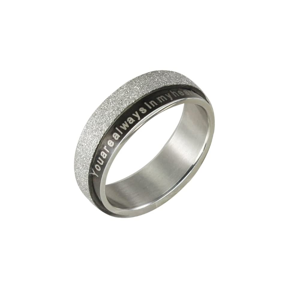 Stainless Steel Black and Sparkle Silver You are always in my heart 6mm Band Ring   Men (Size 9)