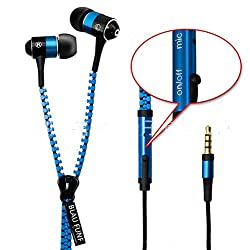 BLAU FÃœNF Tangle Free Zipper Earphone with Mic, Blue