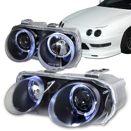 Acura Integra Headlights: 1998 2001 Acura Integra Dual Halo Black Housing Projector