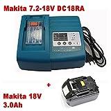 Charger & Battery for Makita BL1830 DC18RA DC18RC [charger 7.2 V-18V Li-Ion with Makita BL1830 18 V 3,0 Ah Li-ion]