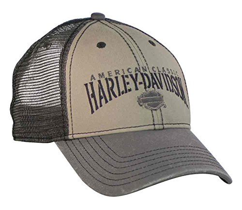 Harley-Davidson Men's Baseball Cap, H-D Script Trucker Hat, Khaki & Gray BC51612