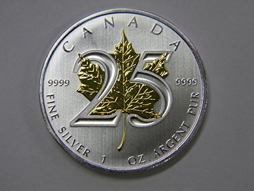 25th Anniversary 2013 Maple Coin .9999 1 oz Ounce Silver 24K Gold Gilded Leaf