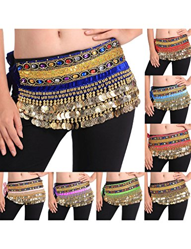 Zacoo Belly Dance Scarf Costumes Hip Skirt 248 Coins Double Belt Wrap