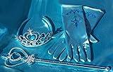 Royal Blue Princess Dress-up Accessories - 3 Piece Set: Gloves, Tiara & Wand (Light Blue)