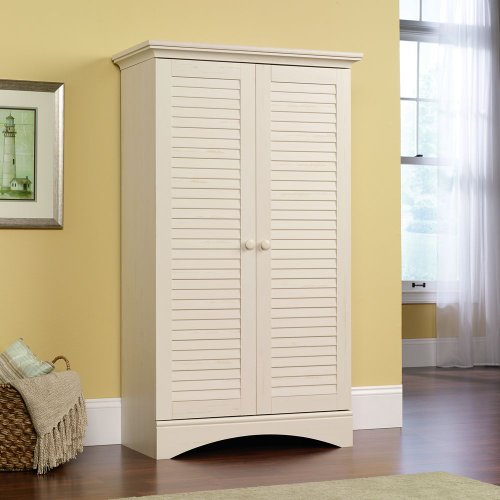 Premium Tall Storage Cabinet and Solutions Sauder Wood White with Doors and Shelves for Office (Tall Wood Cabinet With Shelves compare prices)