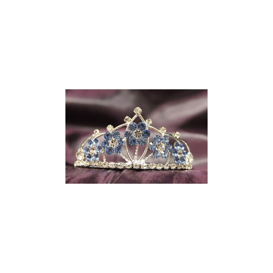 0eacc6038e80ed Beautiful Princess Bridal Wedding Tiara Crown with LT Blue Crystal Flower  DH15764c