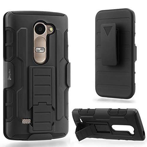 LG Sunset L33L Case, NageBee - LG Sunset L33L - Advanced Armor Hard Hybrid Case Cover Military Stand Holster Locking Belt Swivel Clip Combo Case for LG Sunset L33L (Holster Combo Black)
