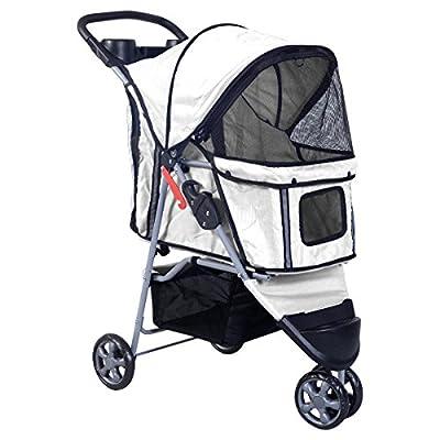 BestPet Pet Stroller Cat Dog Cage 3 Wheels Stroller Travel Folding Carrier