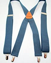Navy Blue Holdup Suspenders in X-back with Silver Clips