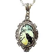 Alkemie Black Crow Cameo Pendant Necklace