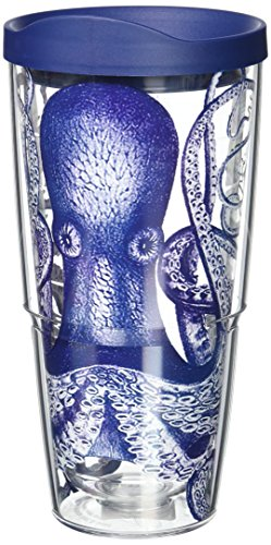 Tervis Octopus Wrap Tumbler with Navy Lid, 24 oz, Clear (Tervis Lids Navy compare prices)