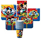 Disney Mickey Mouse Fun & Friends Party Supplies Pack Including Plates, Cups, Tablecover and Napkins- 16 Guest
