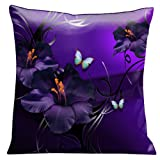 Lama Kasso Chocolate Royale Tropical Butterflies and Gladioli with Silver and Black Scrolls on a Purple Satin 18-Inch Square Pillow, Design on Both Sides