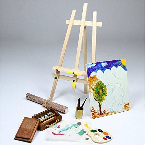 Easel Painting And Tools Pigment Canva Brush Miniature Set Doll House Accessory
