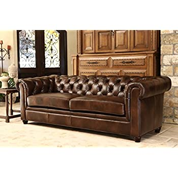Abbyson® Foyer Premium Italian Leather Sofa, Brown