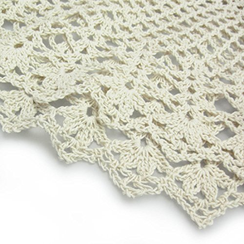 Kilofly Handmade Crochet Cotton Lace Table Sofa Doily Waterlily Beige 22 Inch Furniture