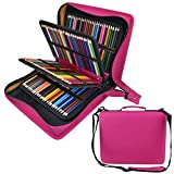 Shulaner 216 Slots PU Leather Colored Pencil Case Organizer Large Capacity Carrying Bag for Prismacolor Watercolor Pencils, Crayola Colored Pencils, Marco Pens, Gel Pens (Rose Red, 216) (Color: Rose Red, Tamaño: 216)