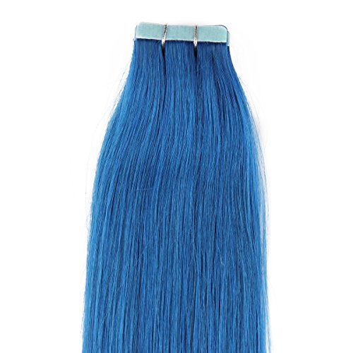 "Beauty7 16"" 18"" 20"" 22"" 24"" 26"" 28"" Tape In Real Human Hair Extensions Blue 45-50G 20 Pieces (22"" 50G) front-12421"