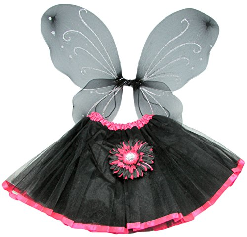 Black and Hot Pink Princess Costume Set with Wings, Tutu, and Daisy Hair Clip