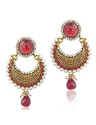 Adiva Beautiful Elegant Pearl Polki With Elegant Stone Pearls & Diamentes Copper Dangle & Drop Earrings For Women...