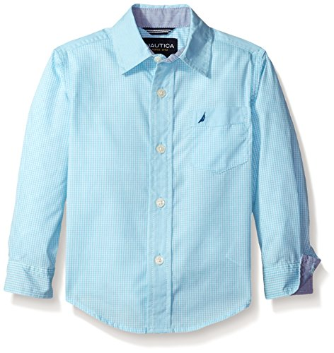 Nautica Little Boys' Long Sleeve Mixed Gingham with Contrast Fabric Shirt, Light Turquoise, L(7)