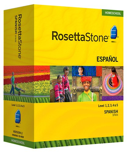 Rosetta Stone Homeschool Spanish (Spain) Level 1-5 Set including Audio Companion