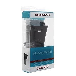 Kit de Modulador de auto inalámbrico Amzdeal reproductor MP3, FM, transmisor con USB, SD, ranura y lector de tarjeta MMC control remoto