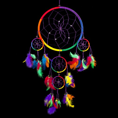 "Dream Catcher ~ Traditional Rainbow Multi Colour with Feathers 8.5"" Diameter & 24"" Long!"