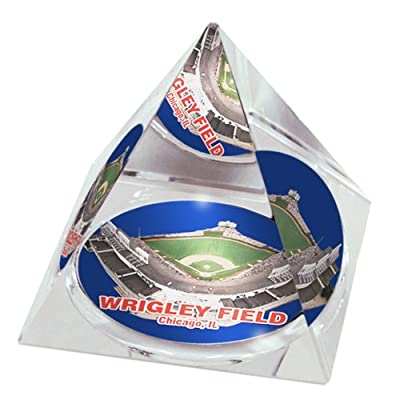 """MLB Chicago Cubs Wrigley Field in 2"""" Crystal Pyramid with Colored Windowed Gift Box"""