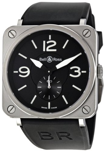Bell and Ross Black Dial Black Rubber Unisex Watch BRSBLSTSRB