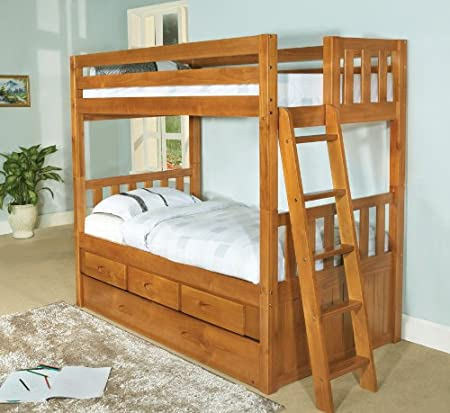 Twin Over Twin Convertible Bunk Bed with 6 Drawers, Entertainment Dresser in Honey Finish