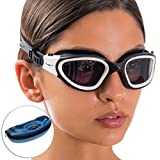 Swim Goggles + Exclusive Design Case by AqtivAqua ~ Wide View Swimming Goggles for Adult Men Women Youth Child (Blue/Black color)