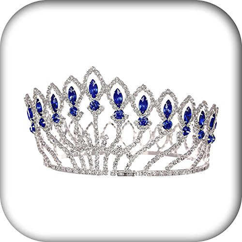 Plated Jewelry Pageant Beauty Contest Bridal Wedding Full Crown - Silver Plated Blue Crystals (Tv Panasonic Curve compare prices)