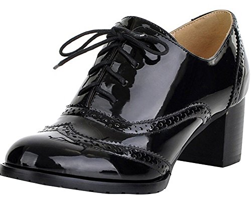 Women's Oxford Dress Pumps WGWJM-Patent Leather-Mid-heel-Shoes Black Size 9