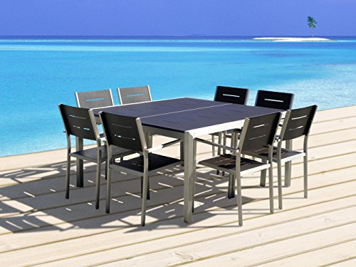 Outdoor Patio Wicker Furniture New Aluminum Resin 9-Piece Square Dining Table & Chairs Set
